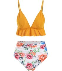crinkly flounce ruched floral bikini swimsuit