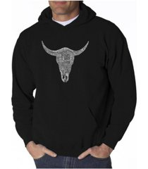 la pop art men's word art hooded sweatshirt - cowskull country hits