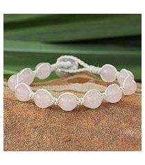 leather and rose quartz beaded bracelet, 'orbs of romance' (thailand)