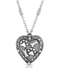 2028 silver tone heart paw and bones necklace