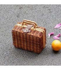 borsa vintage da donna fatta a mano in paglia di rattan, borsa da spiaggia, borsa da spiaggia