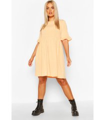 plus recycled basic smock dress, apricot
