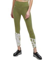 dkny sport women's tie-dyed-hem 7/8 leggings