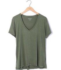 camiseta cuello v tela jersey viscosa para mujer color siete - verde