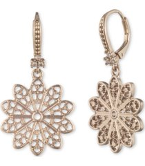 marchesa gold-tone pave filigree drop earrings