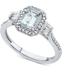 aquamarine (1 ct. t.w.) & diamond (1/3 ct. t.w.) ring in 14k white gold