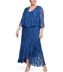 alex evenings plus size glitter printed dress & jacket
