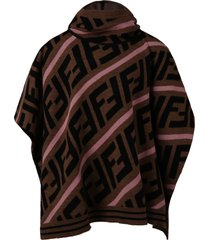 fendi brown cape for girl with double ff