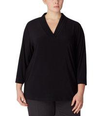 anne klein plus size pleat-neck 3/4-sleeve top