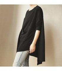 bluzka asymetryczna dwie kieszenie czarna