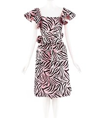 batsheva pink black zebra print bow dress black/pink/animal print sz: xs