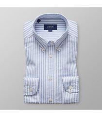 eton heren overhemd oxford licht streep button-down contemporary fit blauw
