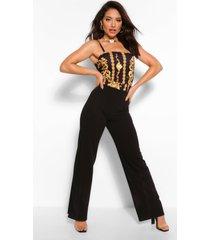 chain print jumpsuit, black