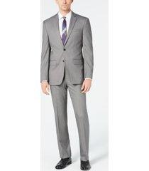 van heusen men's slim-fit flex stretch wrinkle-resistant black/white birdseye suit
