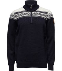 cortina merino masc sweater knitwear half zip jumpers blauw dale of norway