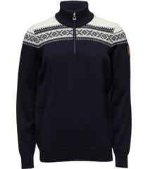 cortina merino masc sweater knitwear half zip jumpers blauw dale of norway