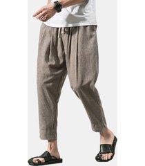 mens primavera cotone traspirante tinta unita casual soft pantaloni lunghi per il tempo libero pantaloni