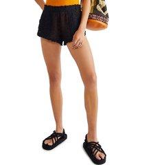 women's free people beach crochet love shorts, size x-small - black