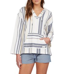women's roxy call of the ocean stripe hoodie, size large - ivory