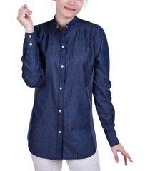 women's long puff sleeve denim shirt