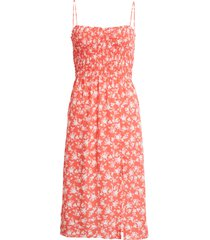 women's row a sleeveless smocked midi dress, size x-large - red