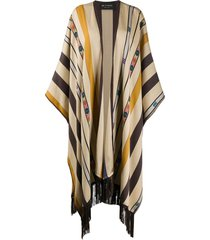 etro fringe patterned cape - neutrals