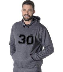 moletom blusão flanelado suffix fechado liso com capuz bolso canguru cinza escuro chumbo estampa 30