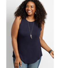maurices plus size womens 24/7 navy high neck tank top blue