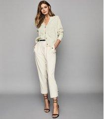 reiss simone - wool cashmere blend cardigan in grey, womens, size xxl