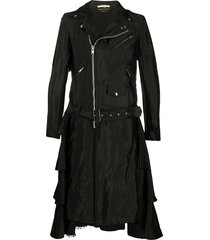 comme des garçons homme plus taffeta moto ruffled coat - black
