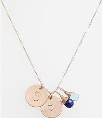 women's nashelle blue quartz initial & heart 14k-gold fill disc necklace