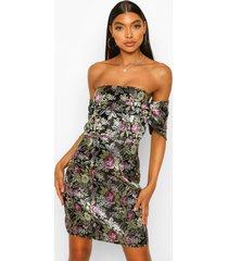 tall oriëntaalse jacquard mini jurk met open schouders, black