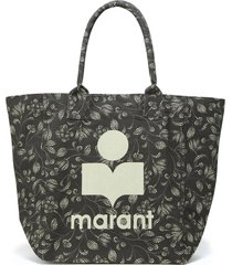 isabel marant black cotton yenky tote bag