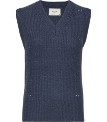 pzlucy pullover vests knitted vests blauw pulz jeans