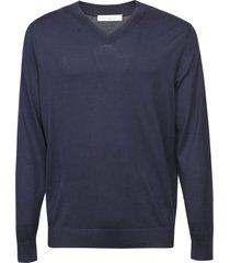malo plain ribbed v-neck sweatshirt