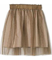 brunello cucinelli brown cotton blend tulle skirt