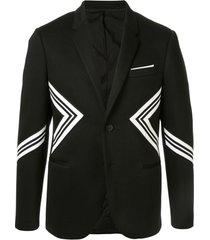 neil barrett blazer com listras - preto
