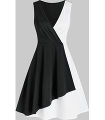 plunge colorblock fit and flare dress