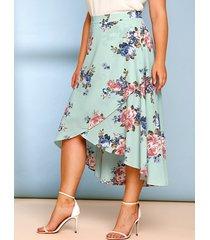 plus size floral print surplice maxi skirt