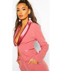 satin pearl button detail blazer, blush