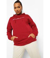 plus woman geborduurde hoodie met tekst, berry
