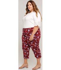 pantalón tallas grandes tipo capri estampado vino 14