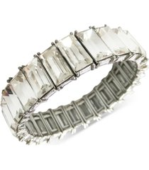 inc silver-tone baguette-crystal stretch bracelet, created for macy's