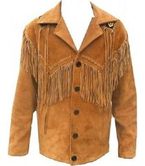 cowboy native american men's western leather coat fringed and beads