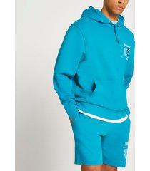 river island mens teal varials graphic hoodie