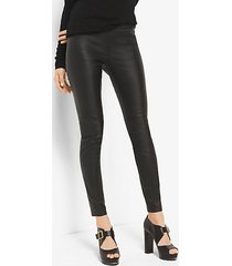 mk leggings in pelle stretch - nero (nero) - michael kors