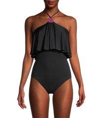 trina turk women's bijou halter-neck one-piece swimsuit - black - size 2