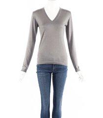 brunello cucinelli gray cashmere v-neck sweater gray sz: s
