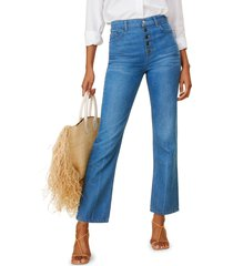 women's reformation cynthia high waist relaxed jeans, size 29 - blue