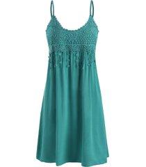 cami crochet lace panel mini dress